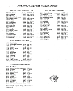 2012-13 Frankfort Winter Sports