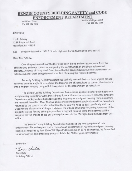 Bert Gale letter to Loy Putney re permits