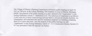 The proposed definition of apartments to be discussed Tuesday, April 16. Obtained on April 11 from the Village Office.