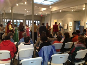 The Comedy of Errors, forced by rain from Tank Hill, found shelter, and its game audience, at the Oliver Art Center.