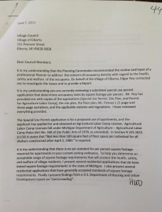 Occupancy letter page 1