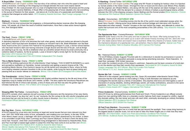 2013 Film Fest Schedule