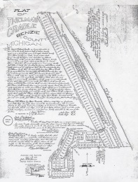 The original plat map of Thelma's Cradle, showing the 1907 gift of Nels and Polla Bye of the alleyways, streets, and beach to the use of the public.