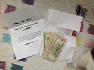 A bunch of money ($150!) sent anonymously to the Alert offices in time for the holidays. Photo by Emily Votruba