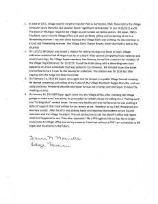 Letter written by Laura Manville to the Sheriff department in support of her request for a PPO against Bill Soper.