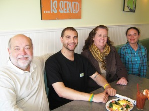 Part of Bayview Grille's staff, from left: co-owner Dale Evans, Matthew Evans, co-owner Jill Weide, and Kadie Smith. Photo by Ann Sinclair