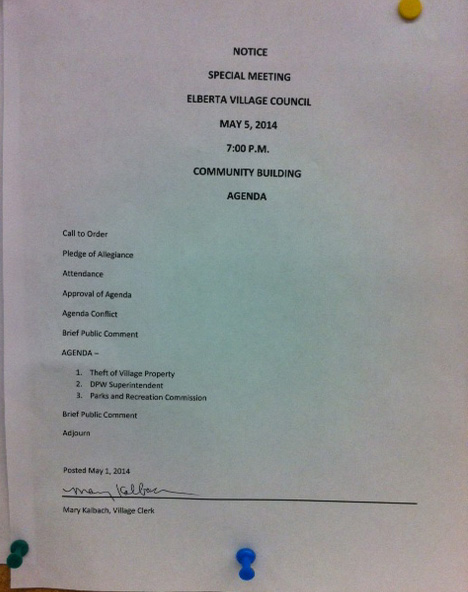 Photo of posted agenda by Jennifer Wilkins