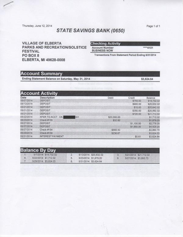 June 12 P&R/Solstice Bank Statement, page 1