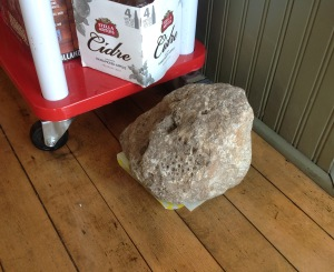 Like a rock: A large Petoskey stone at the Conundrum Café, probably not subject to the personal property tax.